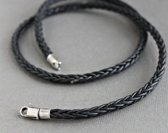 Mens Leather Necklace, Black Square Braid, Sterling Silver Clasp