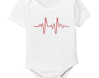 Heart Beat EKG Organic Cotton Bodysuit - Valentine's Day