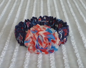 "Patriotic Silver Stars Dog Scrunchie Collar - flag shabby rose Size XS: 10"" to 12"" neck"
