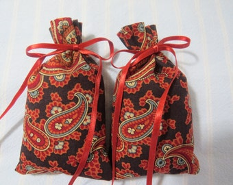 "Terra Cotta 4""X2"" Sachet-'Blacksmith' Fragrance-Masculine Paisley Sachet-Cotton Herbal Sachet-Terra Cotta Ribbon-Cindy's Loft-170"