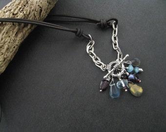 Gemstone Necklace, Leather Necklace, Labradorite Gemstone Cluster Necklace, Southwestern Bohemian Sundance Necklace
