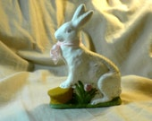Chalkware Rabbit Leaning on Basket w. Shamrock