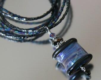 iridescent lampwork necklace