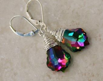 multi colored baroque earrings
