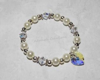 White Pearl & Swarovski Crystal AB Heart Bracelet