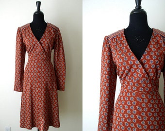 Vintage 1970's Indian Paisley Dress / 70's Boho Burnt Umber & Navy Blue Crossover Midi Dress