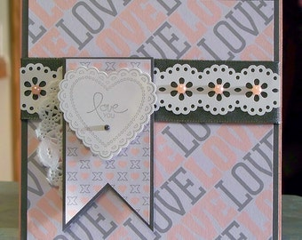 """Handmade Stampin' Up Valentine's Day Card - 5.5"""" x 5.5"""" - I Love You - Hearts a Flutter Anniversary - Birthday"""
