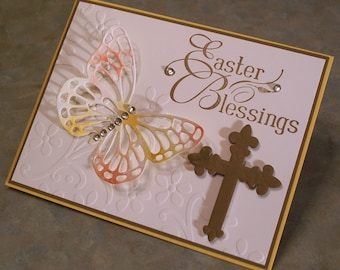 "Stampin Up Easter Blessings Embossed Card - 4.25"" x 5.5"" - Religious Cross & Large Die-Cut Butterfly"