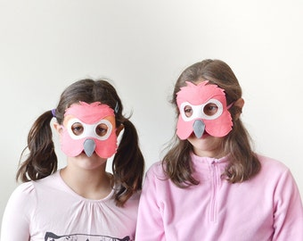 Kids Flamingo Mask, Children Carnival Bird Mask, Dress up Costume Accessory, Boys, Girls, Toddlers Felt Pretend Play Toy