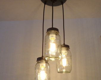 Mason Jar CHANDELIER Light Trio New Quarts