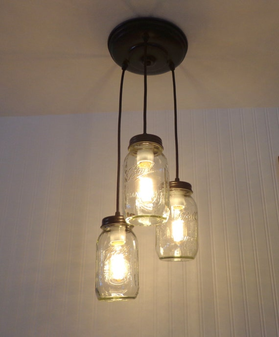 Mason Jar Chandelier: Mason Jar CHANDELIER Light Trio New Quarts By LampGoods On