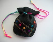Ring Pouch or Black Felt Dice Bag with Colorful Felt Dots Handsewn