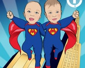 Superbaby Birthday Party Invitation for twins - Illustrated from your photos PRINTABLE FILE