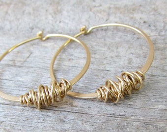 Large Gold Hoops, Hammered Gold Hoop Earrings, Handmade Gold Hoop