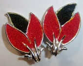 vintage silver tone with red and black inlays flower like clip on earrings A1414