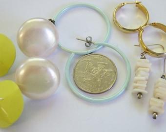 5 five pairs of pierced earrings dangle and drop, hoop loop, round pierced earrings 14INP1 wear, repurpose, craft