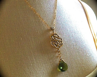 Gold Celtic Knot Necklace, Woodland Green Crystal Pendant, Irish Love Knot, Celtic Wedding Jewelry Outlander Eternity Earrings Set