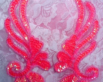 "0182 Hot Pink Mirror Pair Sequin Beaded Appliques 6"" (0182X-hpk)"
