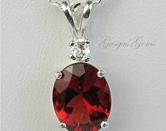 Andesine Labradorite Necklace Sterling Silver Cherry Red 10x8mm 1.90ct