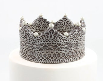 Antique Silver Sugar Paste Crown Cake Topper by lil sculpture