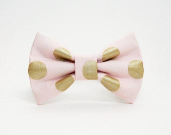 Dog Bow Tie- Blush Pink and Gold Metallic Polka Dot Print- More Colors Available