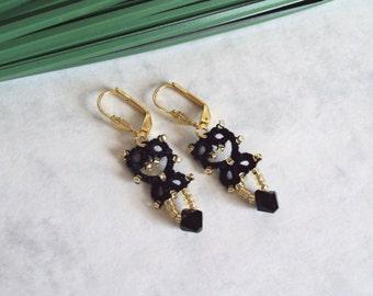 Black Gold Beaded Lace Tatted Lever Back Earrings - Lillian - Mini