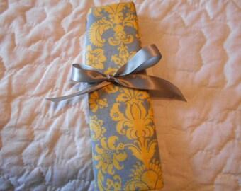 Yellow and Gray  Crochet Hook DPN Case Yarn Organizer-22