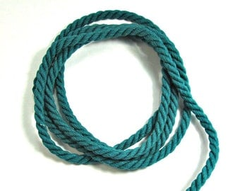 Twisted cotton cord, 6 mm, dark teal, 1.3 meters