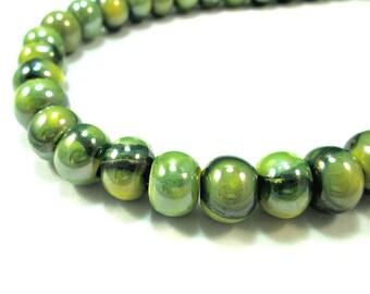 Marbled greek ceramic beads, green - set of 6