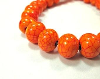 Round  greek ceramic beads, crackled orange 12mm beads,  - 6 pieces