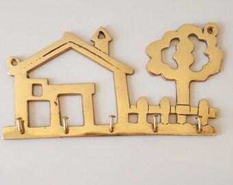 Vintage Brass Jewelery Hanger - Wall Plaque