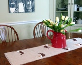 burlap table runner, Easter table setting, bunny table runner, chocolate bunnies