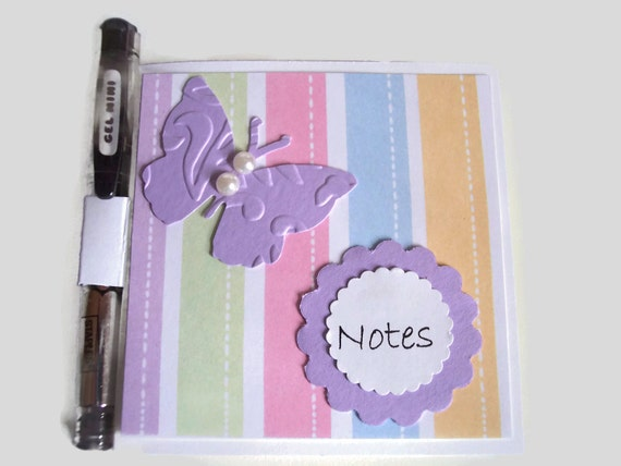 Butterfly and Pearls Post It Note Holder With Gel Pen