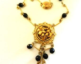 Vintage Black  Glass  nostalgic Liberty Lily flower medallion Dangle Tassels Pendant Necklace -1970s italian vintage necklace -- Art.727/3 -