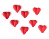 Red Heart Cupcake Toppers, Icing Heart Decorations, Valentine's Day Icing Hearts (24)