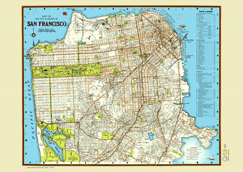 San Francisco 1940 Map Poster Vintage Street Golden Gate