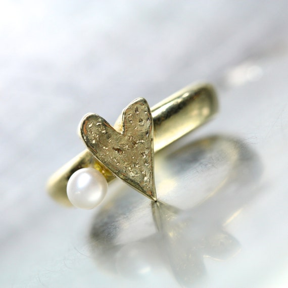 Gold Heart Pearl Engagement Ring 14K Yellow Romantic Love Valentine's Day Modern Unique Design - Heart and Pearl