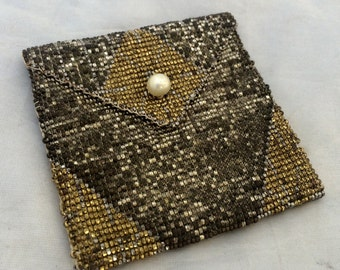 Fabulous Antique Steel beaded purse coin purse Egyptian design Gold and Teal metal beads
