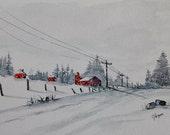 Original Watercolor Painting- Maine Winter Landscape