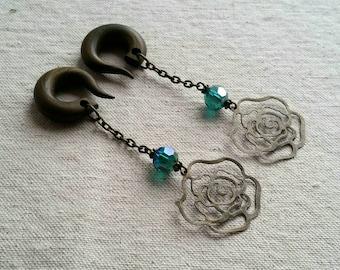 Vintage Green Iris Rose Drop Gauged Earring Plugs with Bronze Roses
