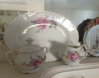 Bohemian China Platter Cream and  Sugar ~  Roses in Pink and White ~  Shabby Chic China ~ Fine China ~ Gift for Her ~ Home Decor ~ Romantic