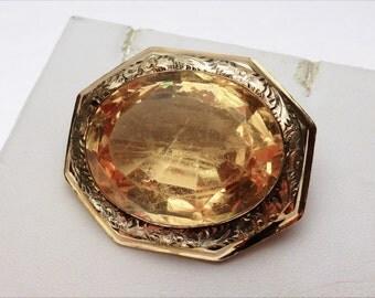 Early 1900's Orange Stone Filigree Brooch