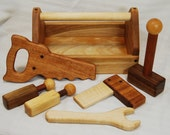 Heirloom Children's Wooden Toy Tool Set with Toolbox - all Hardwoods and Handmade