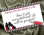 10 Advice Cards, Party Games, Advice for the Bride to Be, Bachelorette or Lingerie Party, Bridal Shower, Black & Red High Heel Stilettos