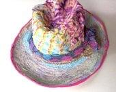 Handmade Artsy Sun Hat with Wide Brim, Derby, Pretty Garden Hat, Magenta, Turquoise, Lime Green,