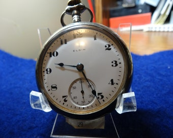 Vintage Elgin 18 Size 7 Jewels Silverode Case Pocket Watch