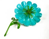 Bright Blue Flower Brooch, Large Flower Brooch, Flower Power Hippie Pins, Green and Blue Flower Pin, Teal Brooch, 60s Jewelry Vintage Brooch