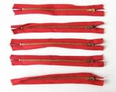 Vintage Red 1950s Zipper / Metal Zippers / NOS