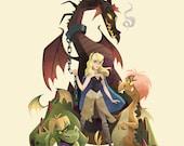 Game of Thorns   Disney/Game of Thrones Mashup   Fine Art Print   Aurora, Sleeping Beauty, Madam Mim, Maleficent   8x10   11x14   13x19