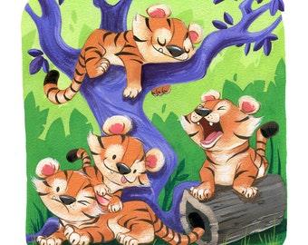 Sleepy Tiger Cubs   8x10 Fine Art Print   Tigers in the Jungle, Purple Tree, Children's or Nursery Room   Flimflammery